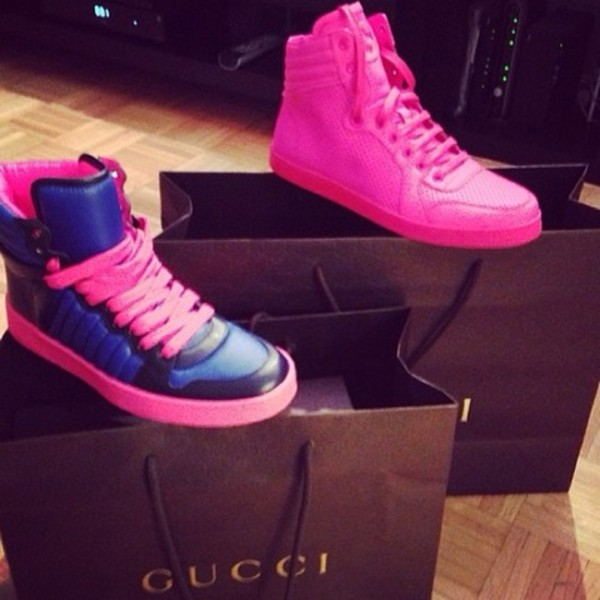 shoes pink barbie high top sneakers pink sneakers gucci wheretoget. Black Bedroom Furniture Sets. Home Design Ideas