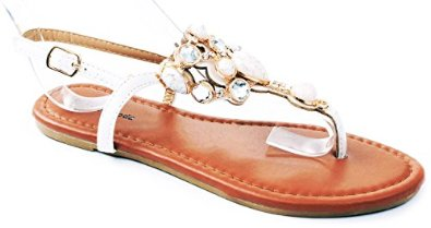 Amazon.com: jjf shoes berry jewel gem rhinestone crystal studded slingback thong flat sandals: shoes
