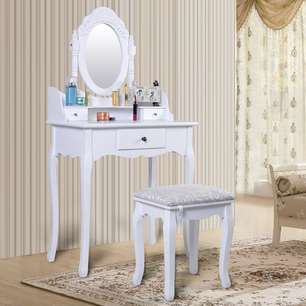 WHITE DRESSING TABLE SET WITH ADJUSTABLE OVAL MIRROR & PADDED STOOL, BEDROOM