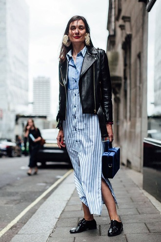 dress maxi dress striped dress shirt dress jacket black jacket leather jacket shoes black shoes