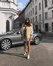 jacket,vest,fur vest,denim shirt,mini dress,white dress,ankle boots,white boots,sunglasses