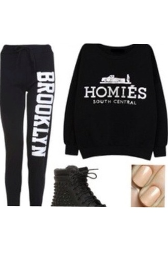 shirt black brooklyn homies sweatshirt sweatpants new new york city pants