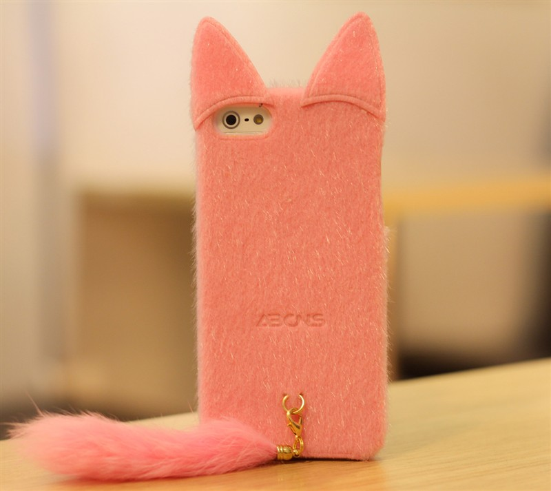 New Cute Artificial Fur Plush Mink Cat Soft Silicon Case for iPhone 4 4S 5 5g | eBay