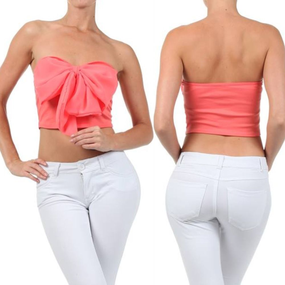 Crop Top Coral Pink Bow Chiffon Strapless Tube Sweetheart Summer Shirt New Sexy | eBay