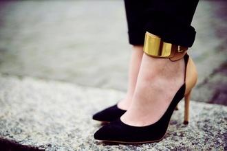 shoes girl high heels black cuff nice