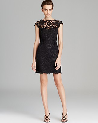 Shoshanna cap sleeve lace dress