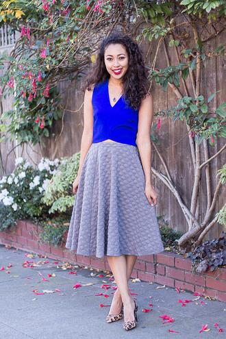 pancake stacker circle skirt grey skirt blue leopard print high heels