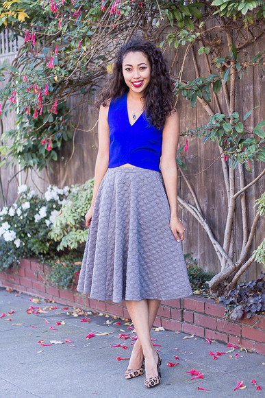 grey skirt circle skirt pancake stacker blue leopard print high heels
