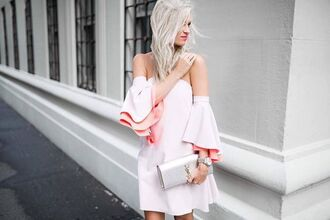 dress tumblr white dress mini dress off the shoulder off the shoulder dress ruffle ruffle dress bag silver bag ysl ysl bag silver hair