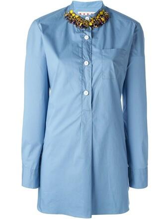 shirt embellished blue top