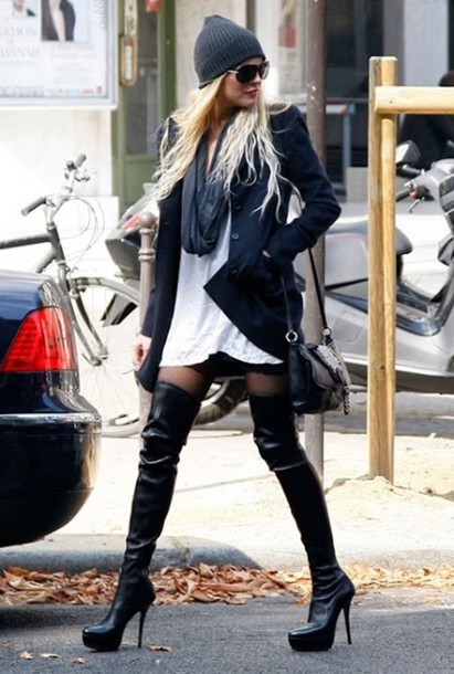 Shoes: boots, thigh high boots, black, heels, blonde hair ...