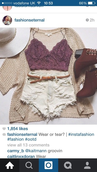 top denim shorts cardigan outfit fashion casual summer spring crop tops lace bralette bralette high waisted shorts style distressed denim shorts