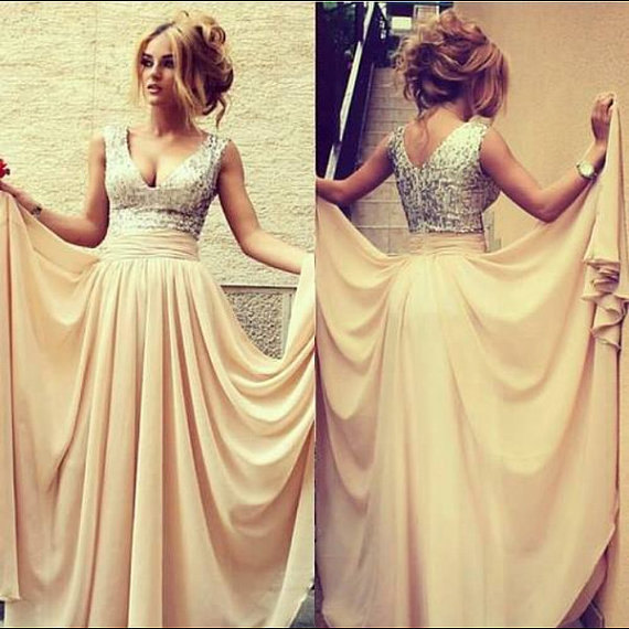 Long champagne dress sequin v neck prom evening dress by 214ever