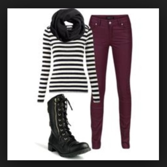 black shirt pants black scarf black and white blouse burgandy jeans combat boots sexy winter outfits all cute outfits scarf shoes