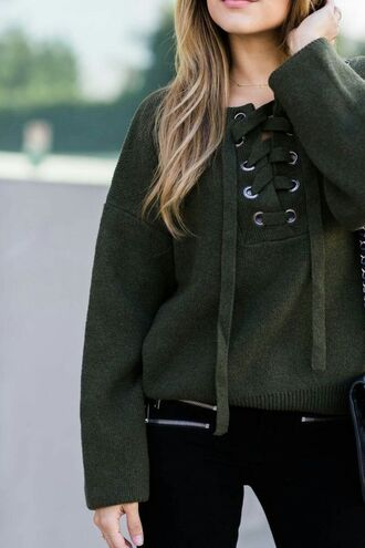 sweater tumblr green sweater lace up jumper lace up oversized jeans black jeans