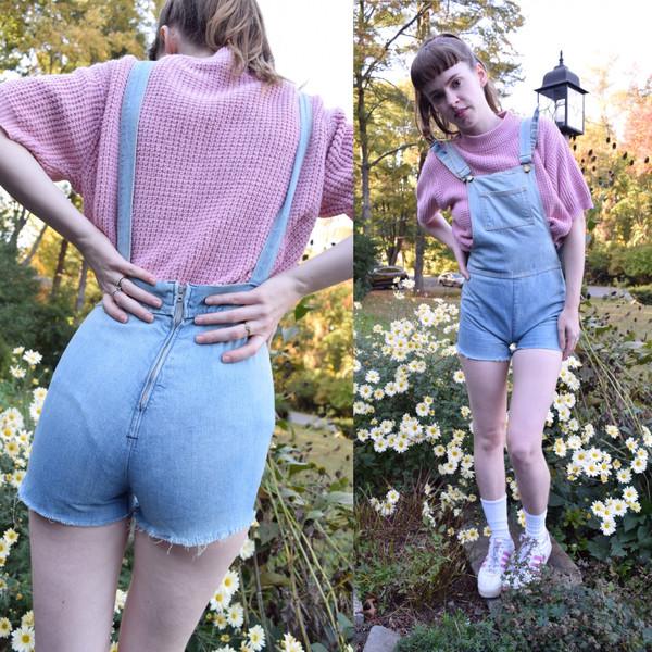 romper jumpsuit shortalls blue denim