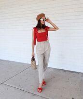 top,red top,mules,pants,sunglasses,bag