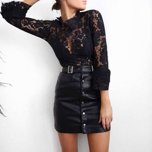 2292df8f16d skirt, tumblr, button up, button up skirt, leather skirt, black ...