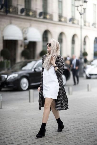 coat, tumblr, checkered, printed coat