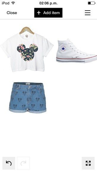 denim shorts top crop tops floral top mickey mouse floral converse