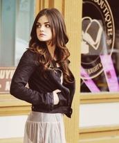 black jacket,aria montgomery,lucy hale,pretty little liars,dress