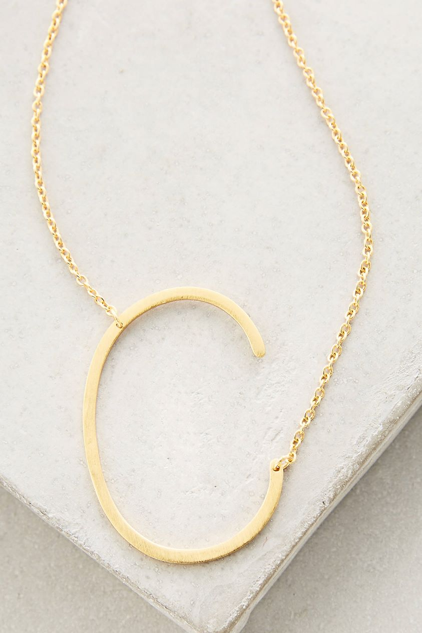 Block Letter Monogram Necklace by Anthropologie in