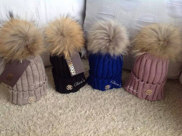 hat fur faux knitted hat pom pom beanie cavalli roberto cavalli d4a8f41f4bb