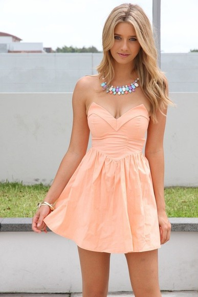 necklace peach dress sleeveless dress coral dress dress pink strapless hippie
