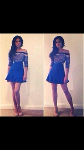 dress,blue off shoulder