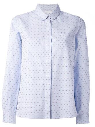 shirt peter pan shirt blue top