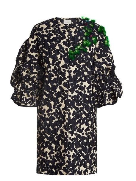 DELPOZO coat embellished cotton navy print