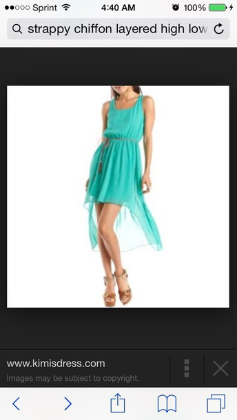 dress strappy layered chiffon high low dress  in teal