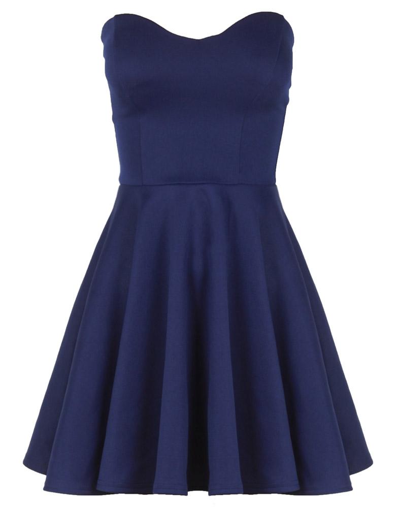 Navy Blue Boob Tube Flare Dress