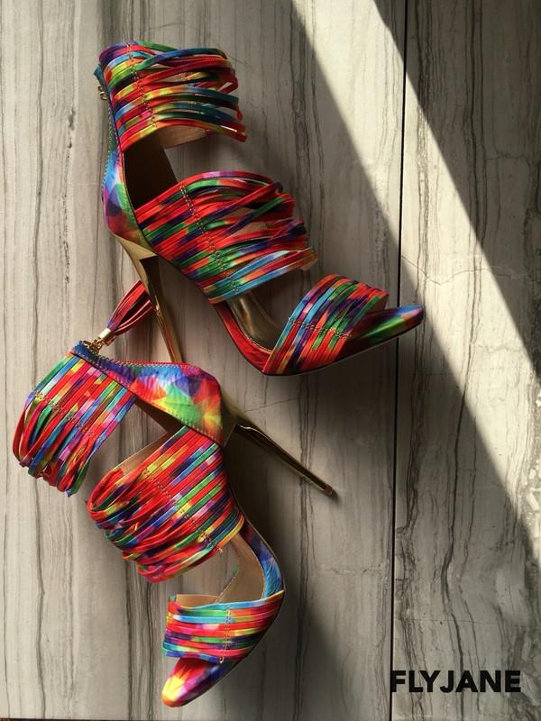 shoes multicolor high heel sandals