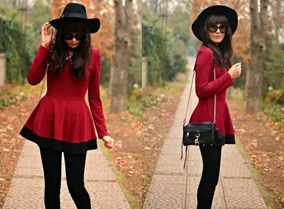 black hat black sunglasses blouse red