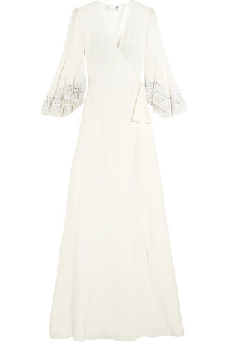 gown embroidered silk white dress