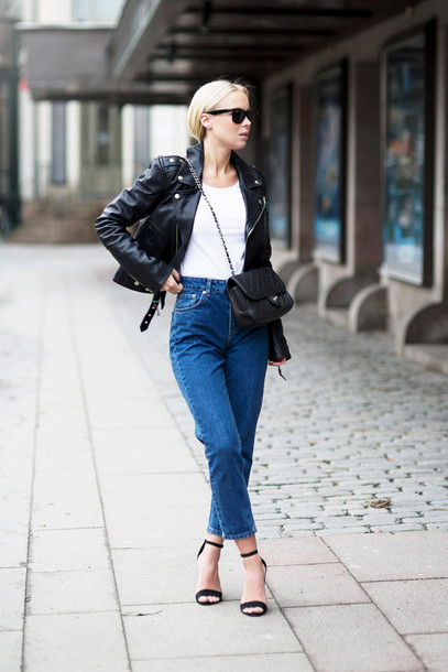 victoria tornegren blogger mom jeans sandals perfecto shoes jeans jacket top bag sunglasses