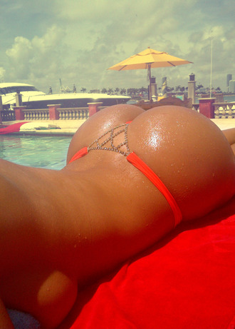 swimwear bikini pretty hot ibiza hot girl thong ass butt beautiful summer pool beach orange bikini red bikini sexy big ass