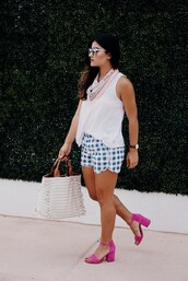 shorts,tumblr,gingham,sandals,sandal heels,mid heel sandals,pink sandals,top,white top,sleeveless,sleeveless top,bag,shoes