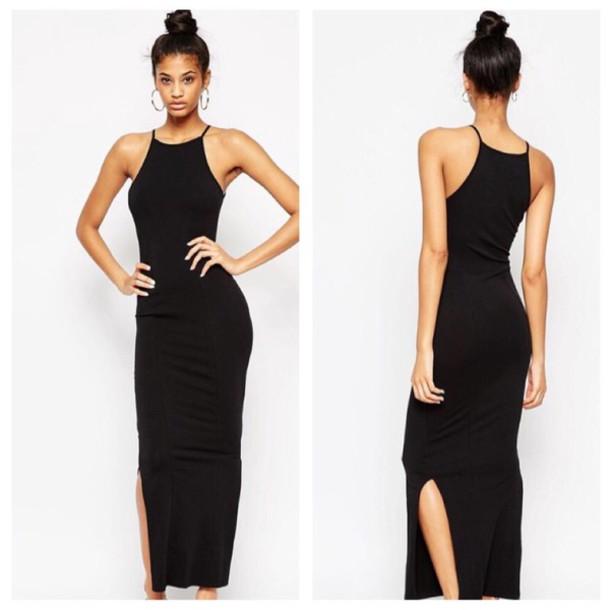 Dress Black 90s Neck Long Dress Black Prom Dress Dress With