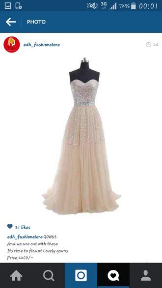dress long gown cream prom dress cream dress