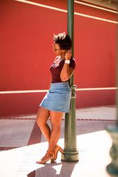 pinksole,blogger,sunglasses,jewels,skirt,bag,shoes,denim skirt,mini skirt,burgundy,burgundy top,sandals,sandal heels,stacked wood heels