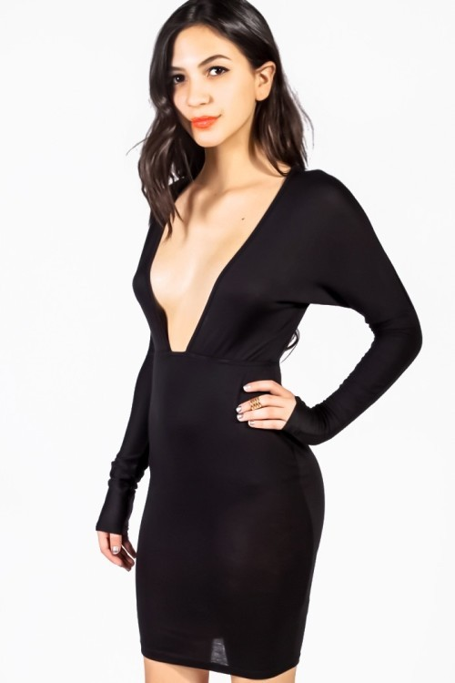 Lethalbeauty ? deep v fitted bodycon dress