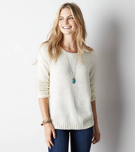 AEO Shimmery Crew Sweater, Cream | American Eagle Outfitters