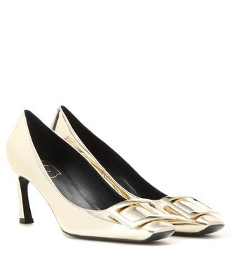 metallic pumps leather gold shoes