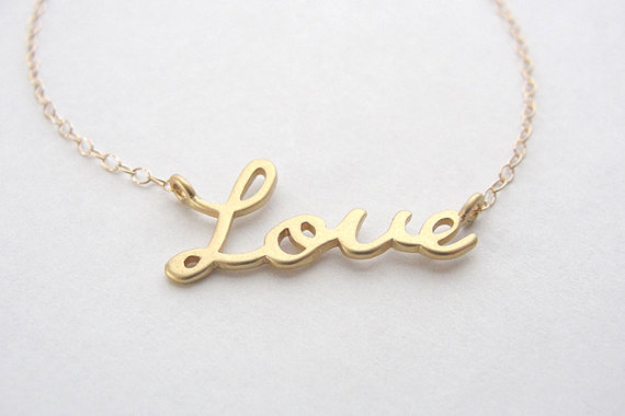 Gold love necklace  love script necklace in gold by OliveYewJewels