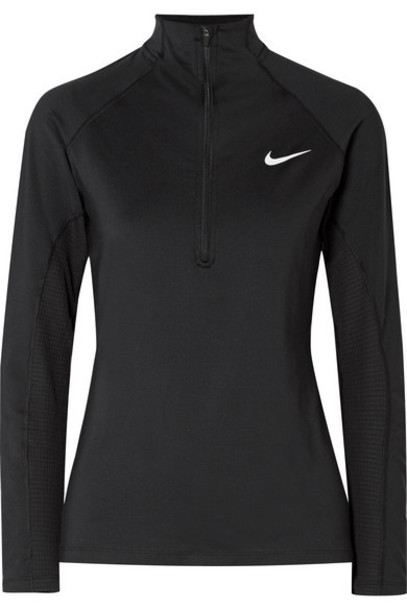 Nike - Pro Warm Mesh-trimmed Stretch-jersey Top - Black