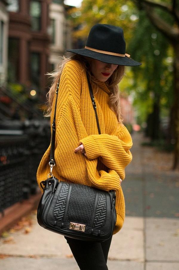 sweater oversized sweater yellow mustard mustard sweater black hat crossbody bag bag hat