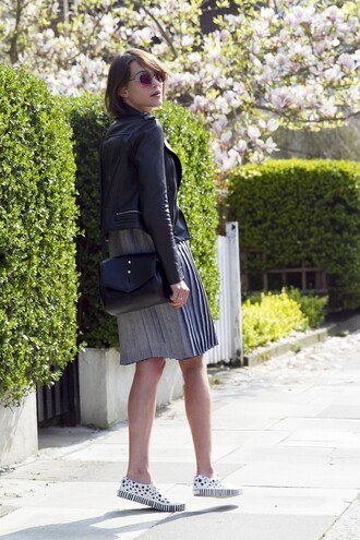 la petite anglaise blogger sunglasses pleated leather jacket grey dress