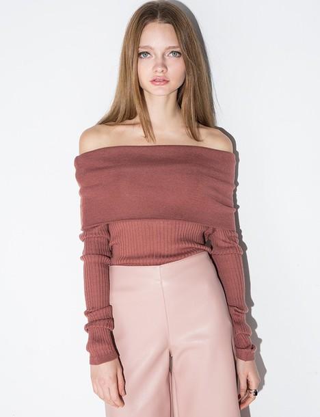 421b9e29aef top, mauve off the shoulder knit long top, off the shoulder top ...